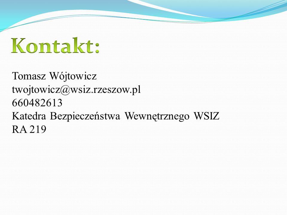 Tomasz Wójtowicz twojtowicz@wsiz.rzeszow.pl 660482613 Katedra Bezpieczeństwa Wewnętrznego WSIZ RA 219
