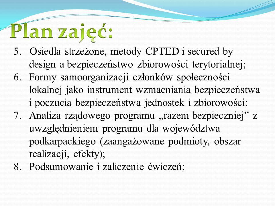 5. Osiedla strzeżone, metody CPTED i secured by design a bezpieczeństwo zbiorowości terytorialnej; 6.Formy samoorganizacji członków społeczności lokal