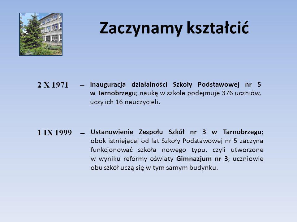 Zaczynamy kształcić 2 X 1971– Inauguracja działalności Szkoły Podstawowej nr 5 w Tarnobrzegu; naukę w szkole podejmuje 376 uczniów, uczy ich 16 nauczy
