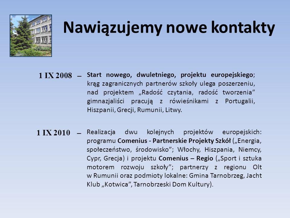 Nawiązujemy nowe kontakty 1 IX 2008– Start nowego, dwuletniego, projektu europejskiego; krąg zagranicznych partnerów szkoły ulega poszerzeniu, nad pro