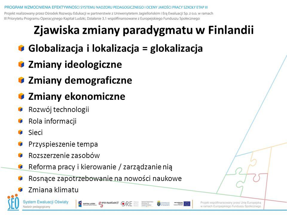 Zjawiska zmiany paradygmatu w Finlandii Globalizacja i lokalizacja = glokalizacja Zmiany ideologiczne Zmiany demograficzne Zmiany ekonomiczne Rozwój t