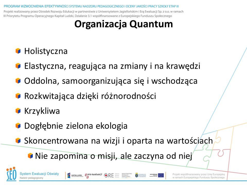 Organizacja Quantum Holistyczna Elastyczna, reagująca na zmiany i na krawędzi Oddolna, samoorganizująca się i wschodząca Rozkwitająca dzięki różnorodn