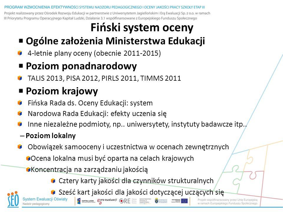 Fiński system oceny Ogólne założenia Ministerstwa Edukacji 4-letnie plany oceny (obecnie 2011-2015) Poziom ponadnarodowy TALIS 2013, PISA 2012, PIRLS