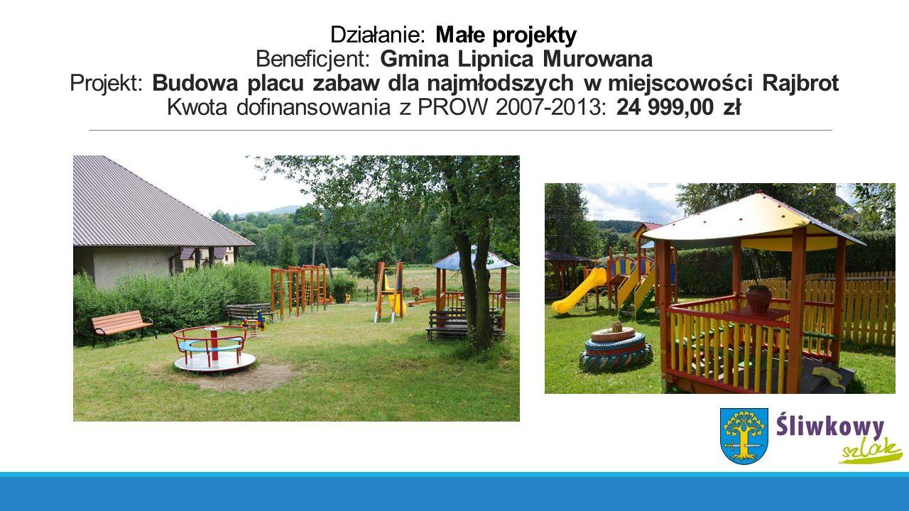 Działanie: Małe projekty Beneficjent: Gmina Lipnica Murowana Projekt: Budowa placu zabaw dla najmłodszych w miejscowości Rajbrot Kwota dofinansowania