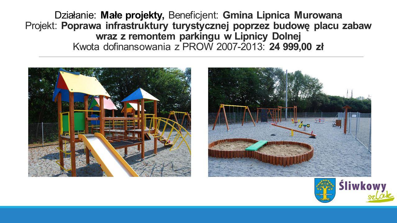 Działanie: Małe projekty, Beneficjent: Gmina Lipnica Murowana Projekt: Poprawa infrastruktury turystycznej poprzez budowę placu zabaw wraz z remontem