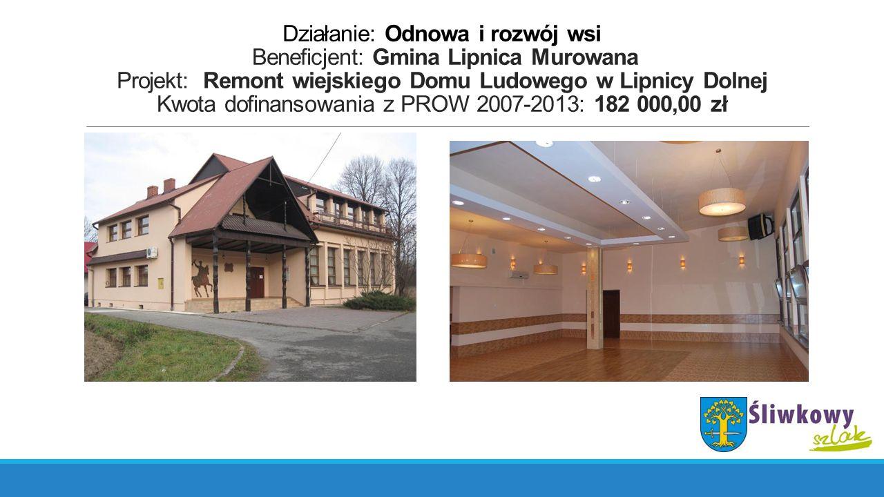 Działanie: Odnowa i rozwój wsi Beneficjent: Gmina Lipnica Murowana Projekt: Remont wiejskiego Domu Ludowego w Lipnicy Dolnej Kwota dofinansowania z PR
