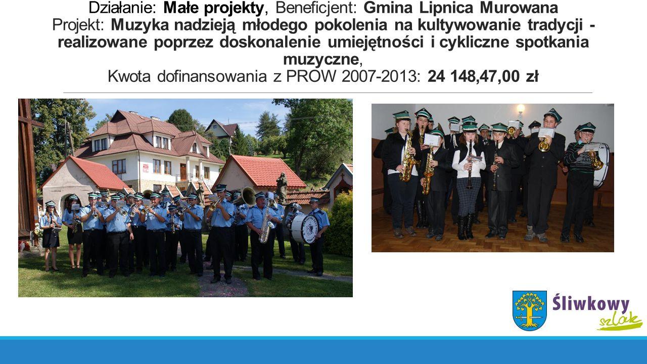 Działanie: Małe projekty, Beneficjent: Gmina Lipnica Murowana Projekt: Muzyka nadzieją młodego pokolenia na kultywowanie tradycji - realizowane poprze