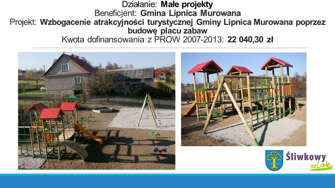 Działanie: Małe projekty Beneficjent: Gmina Lipnica Murowana Projekt: Wzbogacenie atrakcyjności turystycznej Gminy Lipnica Murowana poprzez budowę pla