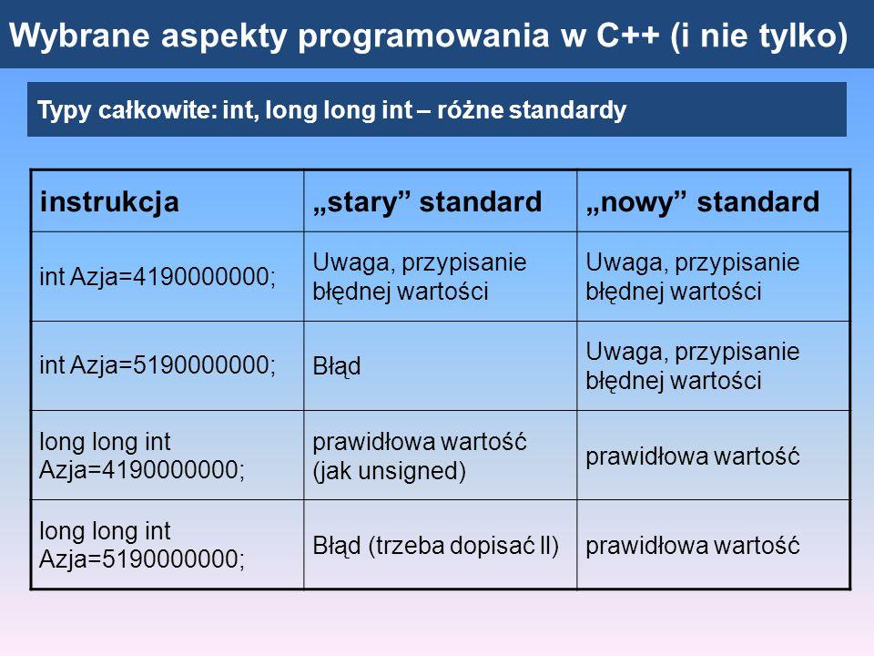 """Wybrane aspekty programowania w C++ (i nie tylko) Typy całkowite: unsigned int, long long int Program """"ludność świata Unsigned int - zakres wartości: od 0 do 4294967295 long long (int) – 8 bajtów, 2 64 możliwości, liczby ujemne i dodatnie rzędu tryliona (od ok."""
