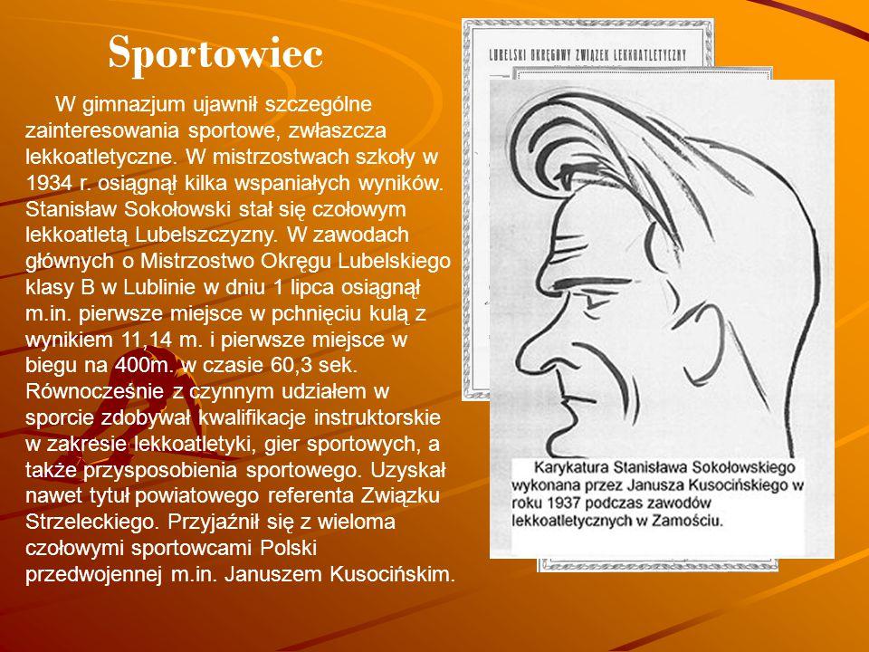 W gimnazjum ujawnił szczególne zainteresowania sportowe, zwłaszcza lekkoatletyczne. W mistrzostwach szkoły w 1934 r. osiągnął kilka wspaniałych wynikó