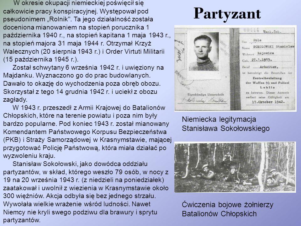 Partyzant W okresie okupacji niemieckiej poświęcił się całkowicie pracy konspiracyjnej.