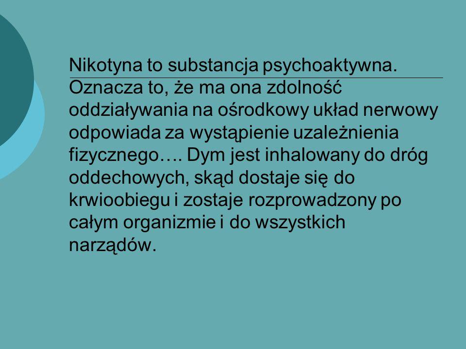 Nikotyna to substancja psychoaktywna. Oznacza to, że ma ona zdolność oddziaływania na ośrodkowy układ nerwowy odpowiada za wystąpienie uzależnienia fi