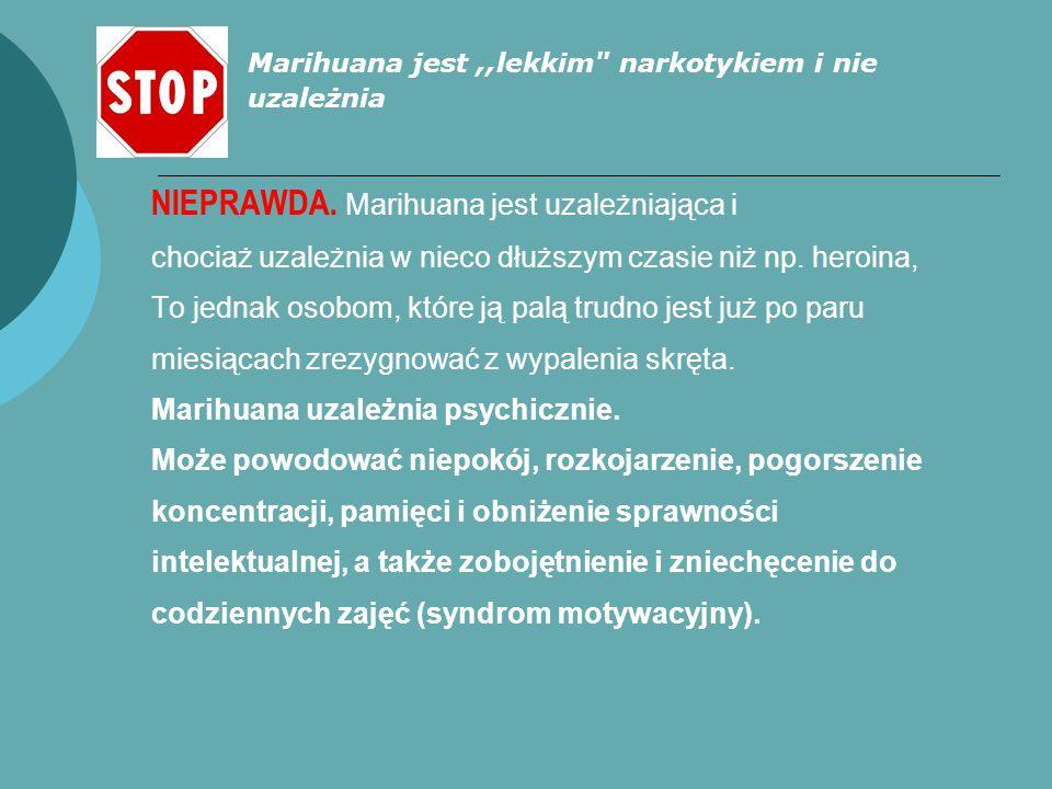 NIEPRAWDA. Marihuana jest uzależniająca i chociaż uzależnia w nieco dłuższym czasie niż np. heroina, To jednak osobom, które ją palą trudno jest już p