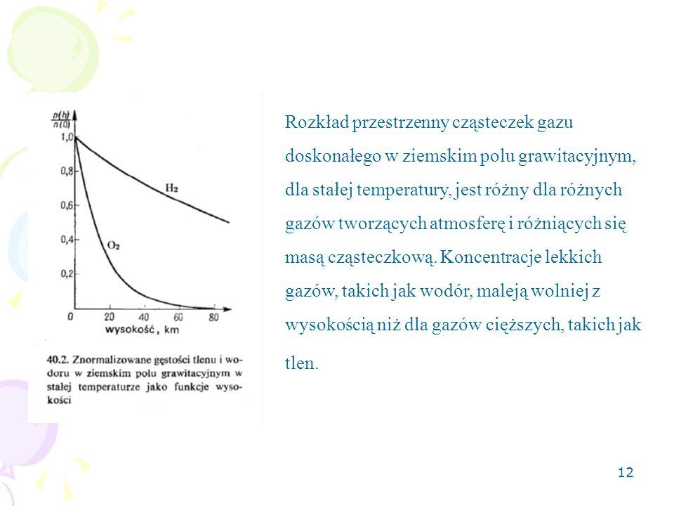 12 Rozkład przestrzenny cząsteczek gazu doskonałego w ziemskim polu grawitacyjnym, dla stałej temperatury, jest różny dla różnych gazów tworzących atm
