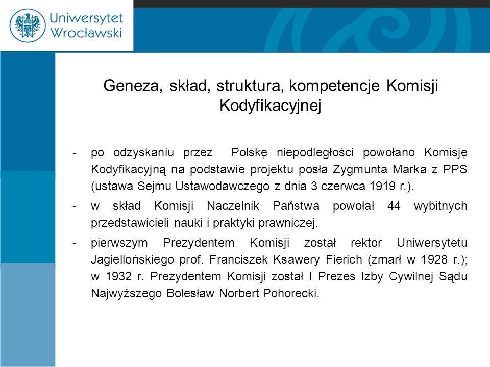 Geneza, skład, struktura, kompetencje Komisji Kodyfikacyjnej -po odzyskaniu przez Polskę niepodległości powołano Komisję Kodyfikacyjną na podstawie pr