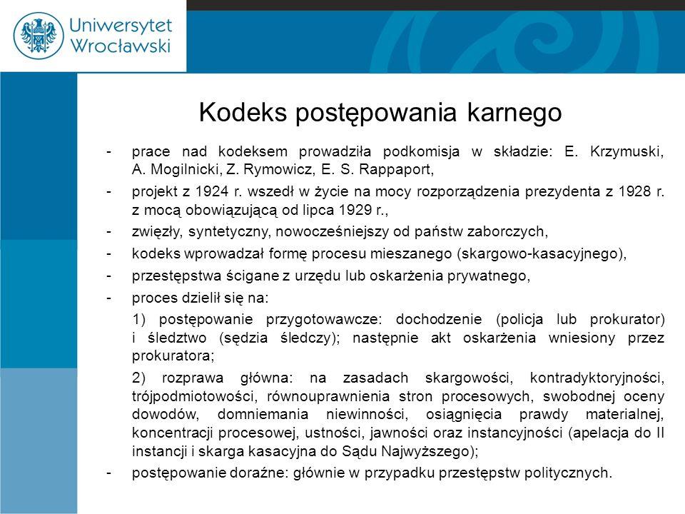 Kodeks postępowania karnego -prace nad kodeksem prowadziła podkomisja w składzie: E. Krzymuski, A. Mogilnicki, Z. Rymowicz, E. S. Rappaport, -projekt
