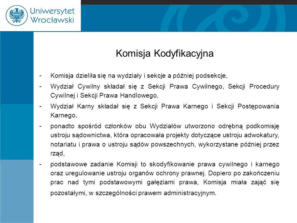 Komisja Kodyfikacyjna -Komisja dzieliła się na wydziały i sekcje a później podsekcje, -Wydział Cywilny składał się z Sekcji Prawa Cywilnego, Sekcji Pr