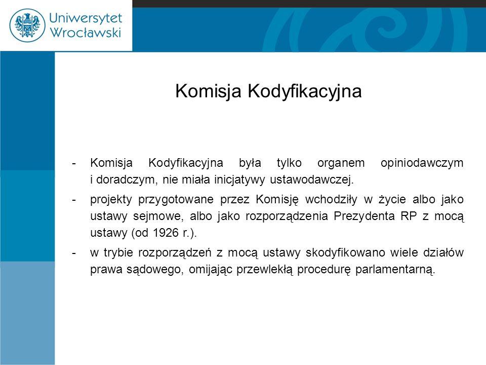 Komisja Kodyfikacyjna -Komisja Kodyfikacyjna była tylko organem opiniodawczym i doradczym, nie miała inicjatywy ustawodawczej. -projekty przygotowane