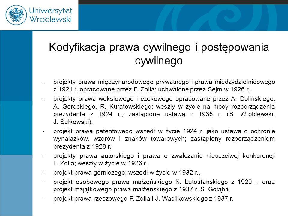 Kodyfikacja prawa cywilnego i postępowania cywilnego -projekty prawa międzynarodowego prywatnego i prawa międzydzielnicowego z 1921 r. opracowane prze