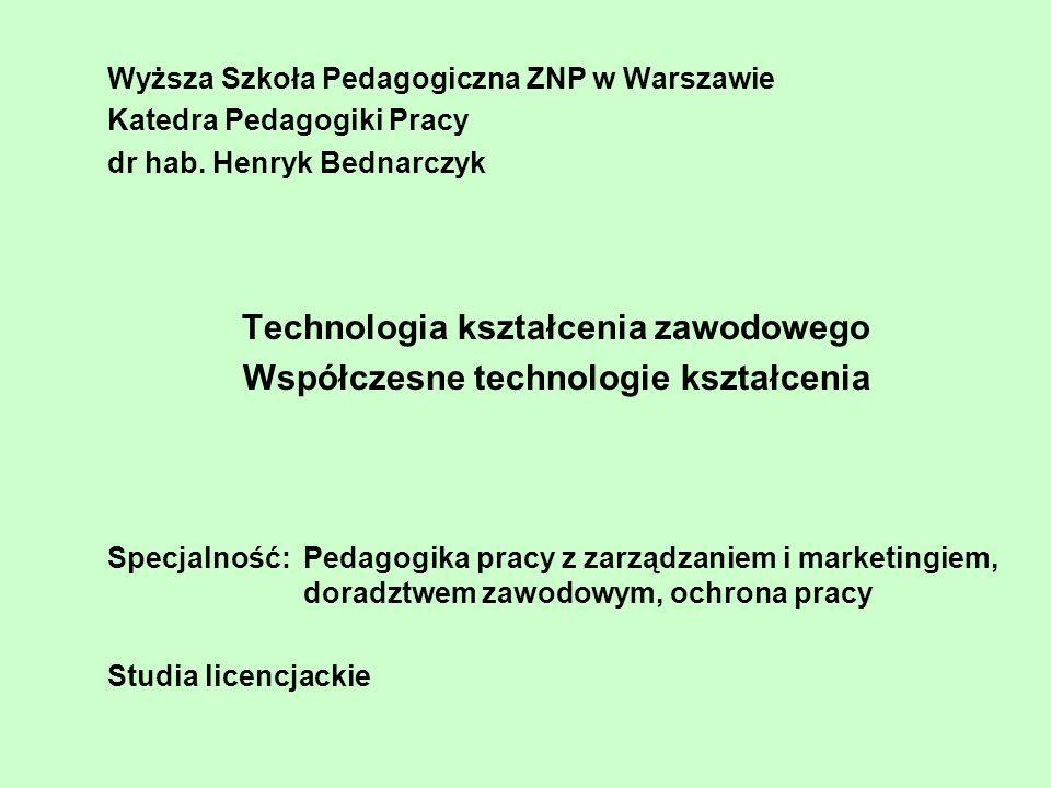 Wyższa Szkoła Pedagogiczna ZNP w Warszawie Katedra Pedagogiki Pracy dr hab.
