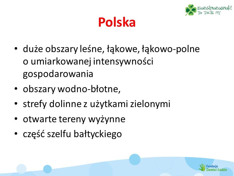 Polska duże obszary leśne, łąkowe, łąkowo-polne o umiarkowanej intensywności gospodarowania obszary wodno-błotne, strefy dolinne z użytkami zielonymi otwarte tereny wyżynne część szelfu bałtyckiego