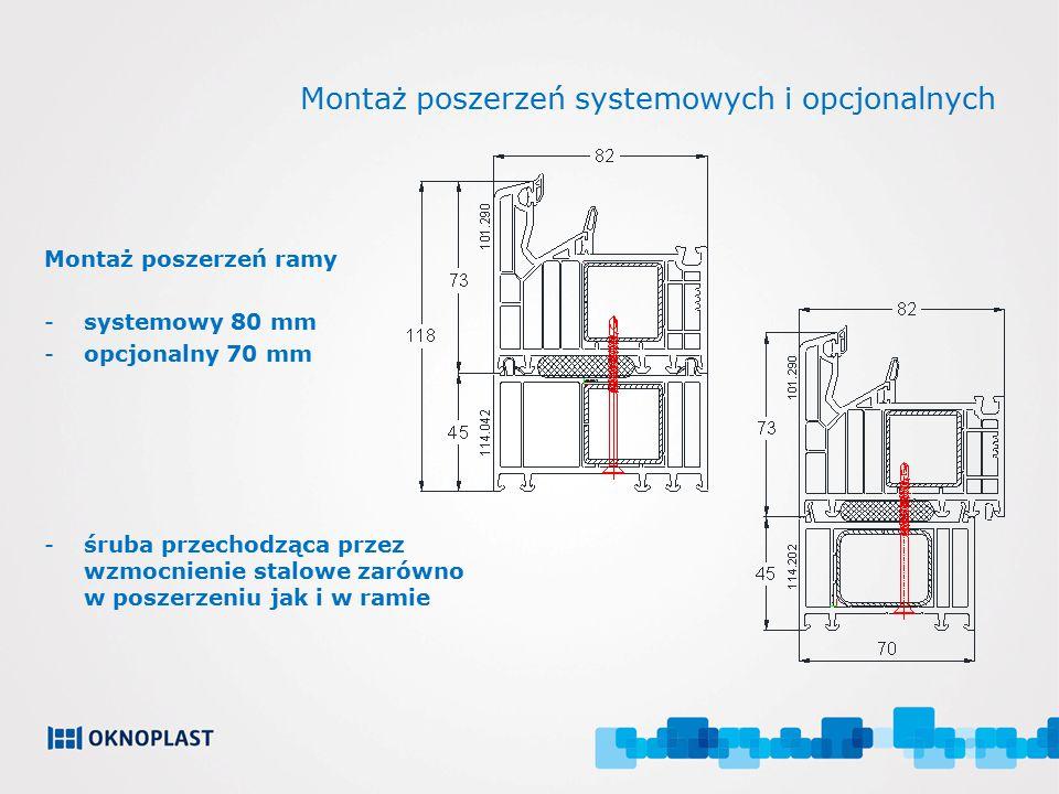 Montaż poszerzeń systemowych i opcjonalnych Montaż poszerzeń ramy -systemowy 80 mm -opcjonalny 70 mm -śruba przechodząca przez wzmocnienie stalowe zar