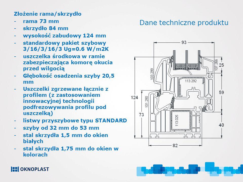 Dane techniczne produktu Złożenie rama/skrzydło -rama 73 mm -skrzydło 84 mm -wysokość zabudowy 124 mm -standardowy pakiet szybowy 3/16/3/16/3 Ug=0.6 W