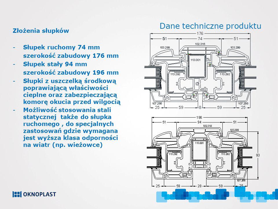 Dane techniczne produktu Złożenia słupków -Słupek ruchomy 74 mm szerokość zabudowy 176 mm -Słupek stały 94 mm szerokość zabudowy 196 mm -Słupki z uszc