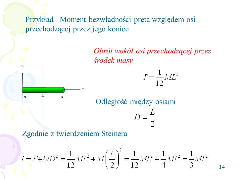 14 Przykład Moment bezwładności pręta względem osi przechodzącej przez jego koniec y x L Obrót wokół osi przechodzącej przez środek masy Odległość między osiami Zgodnie z twierdzeniem Steinera