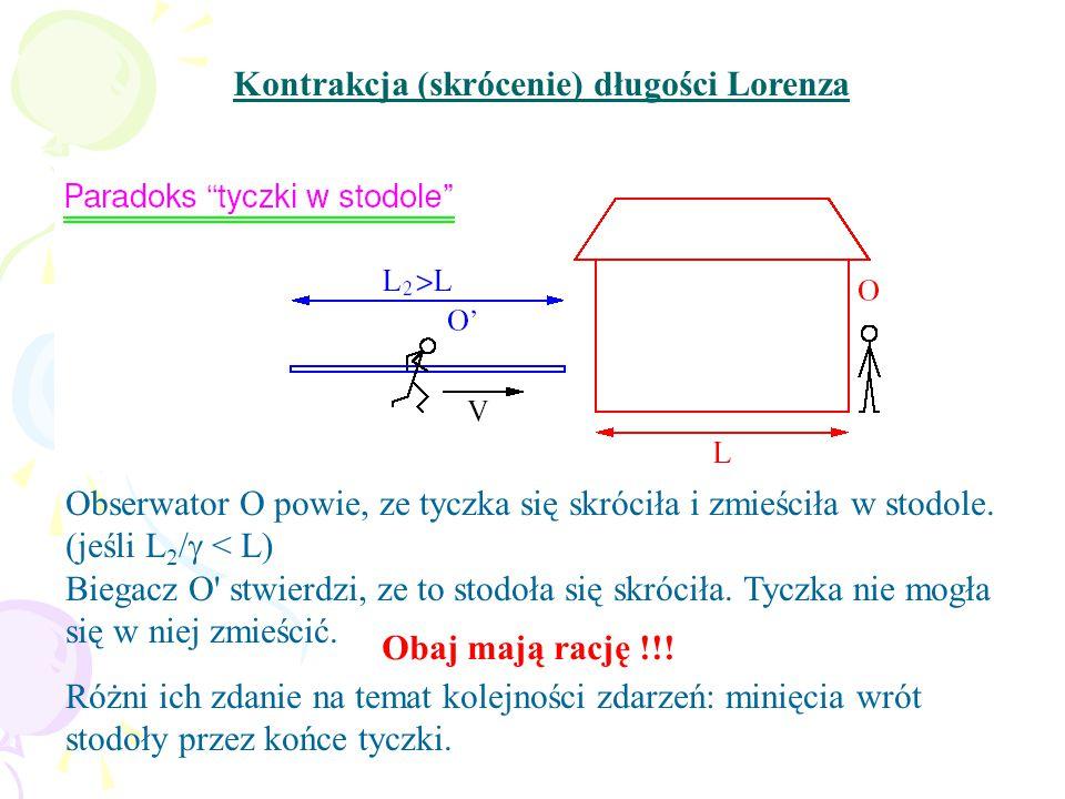 Kontrakcja (skrócenie) długości Lorenza Obserwator O powie, ze tyczka się skróciła i zmieściła w stodole.