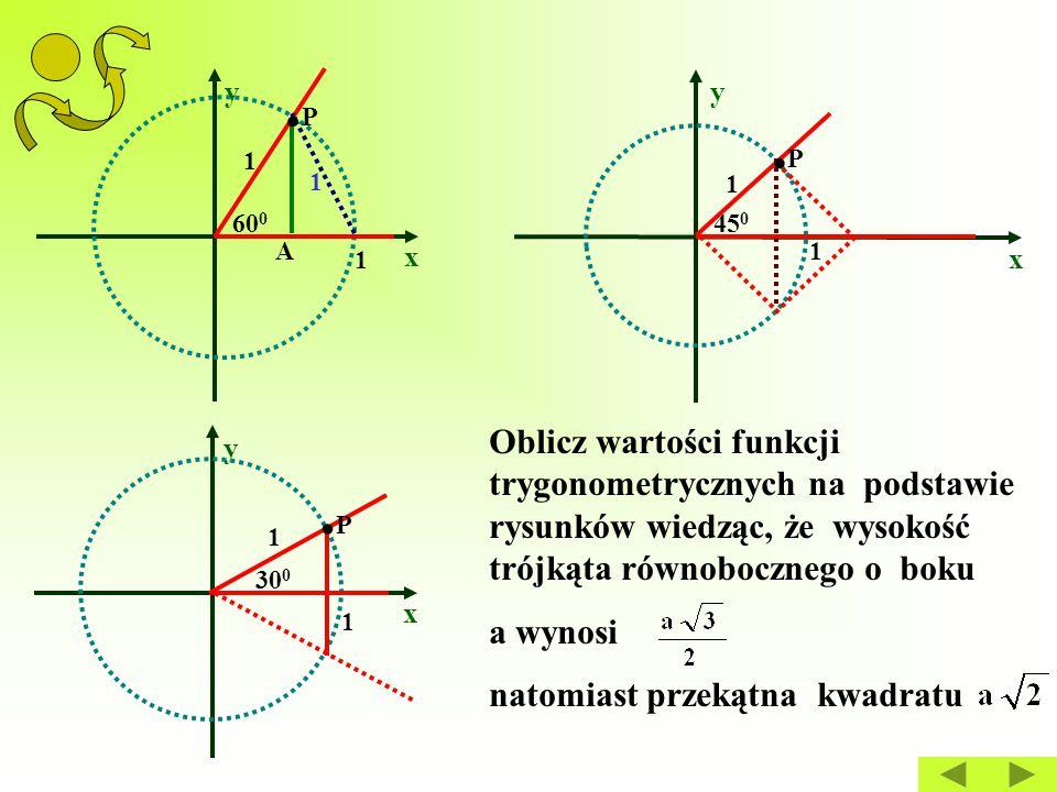 x y x y 1 1.P.P A 60 0 1 1 1 45 0.P.P x y 1 1 30 0.P.P Oblicz wartości funkcji trygonometrycznych na podstawie rysunków wiedząc, że wysokość trójkąta