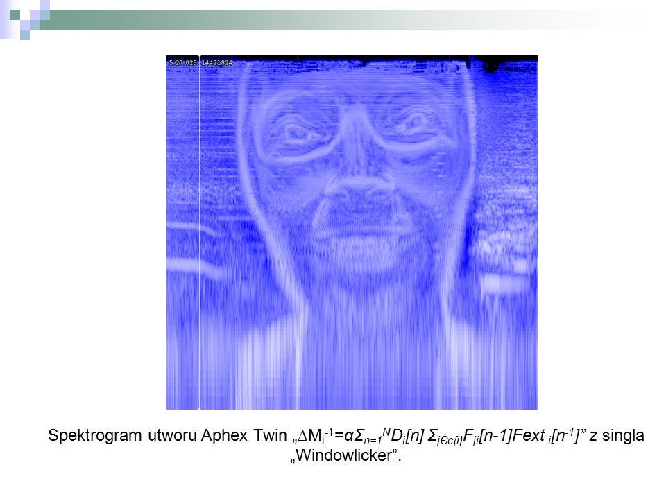 "Spektrogram utworu Aphex Twin ""∆M i -1 =αΣ n=1 N D i [n] Σ jЄc{i} F ji [n-1]Fext i [n -1 ]"" z singla ""Windowlicker""."