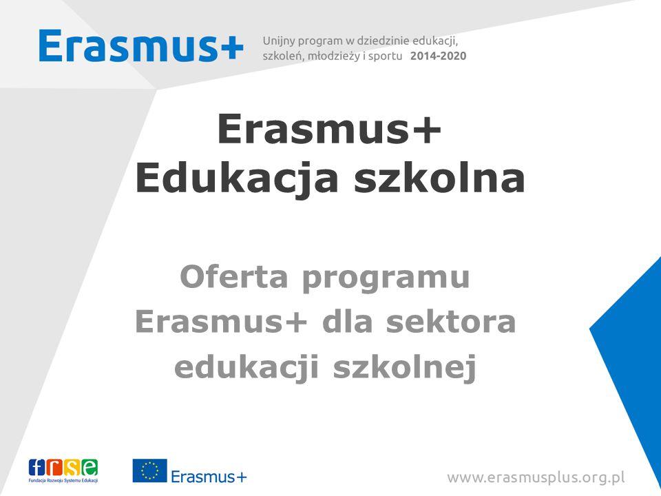 Erasmus+ Edukacja szkolna Oferta programu Erasmus+ dla sektora edukacji szkolnej