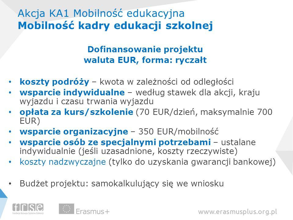Akcja KA1 Mobilność edukacyjna Mobilność kadry edukacji szkolnej Dofinansowanie projektu waluta EUR, forma: ryczałt koszty podróży – kwota w zależnośc