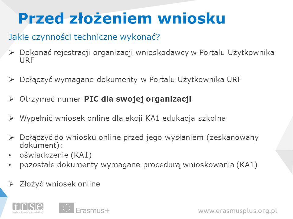 Przed złożeniem wniosku Jakie czynności techniczne wykonać?  Dokonać rejestracji organizacji wnioskodawcy w Portalu Użytkownika URF  Dołączyć wymaga