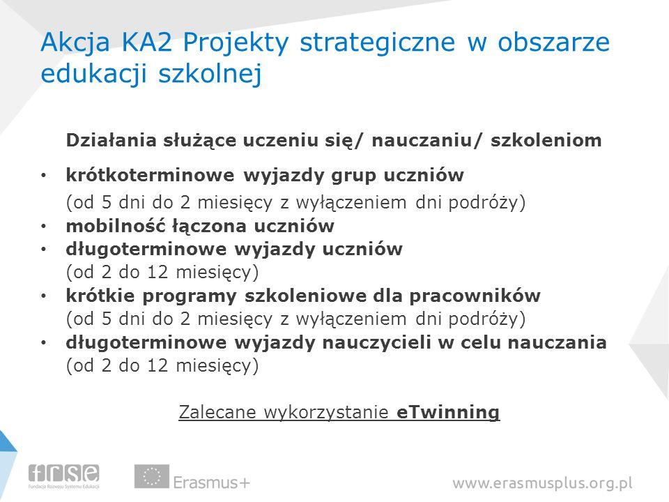 Akcja KA2 Projekty strategiczne w obszarze edukacji szkolnej Działania służące uczeniu się/ nauczaniu/ szkoleniom krótkoterminowe wyjazdy grup uczniów