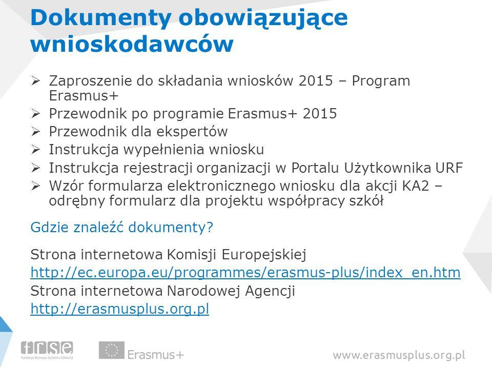 Dokumenty obowiązujące wnioskodawców  Zaproszenie do składania wniosków 2015 – Program Erasmus+  Przewodnik po programie Erasmus+ 2015  Przewodnik