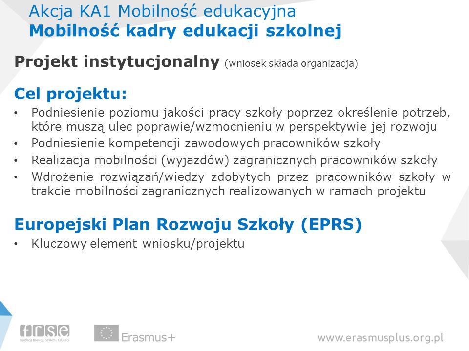 Akcja KA1 Mobilność edukacyjna Mobilność kadry edukacji szkolnej Projekt instytucjonalny (wniosek składa organizacja) Cel projektu: Podniesienie pozio