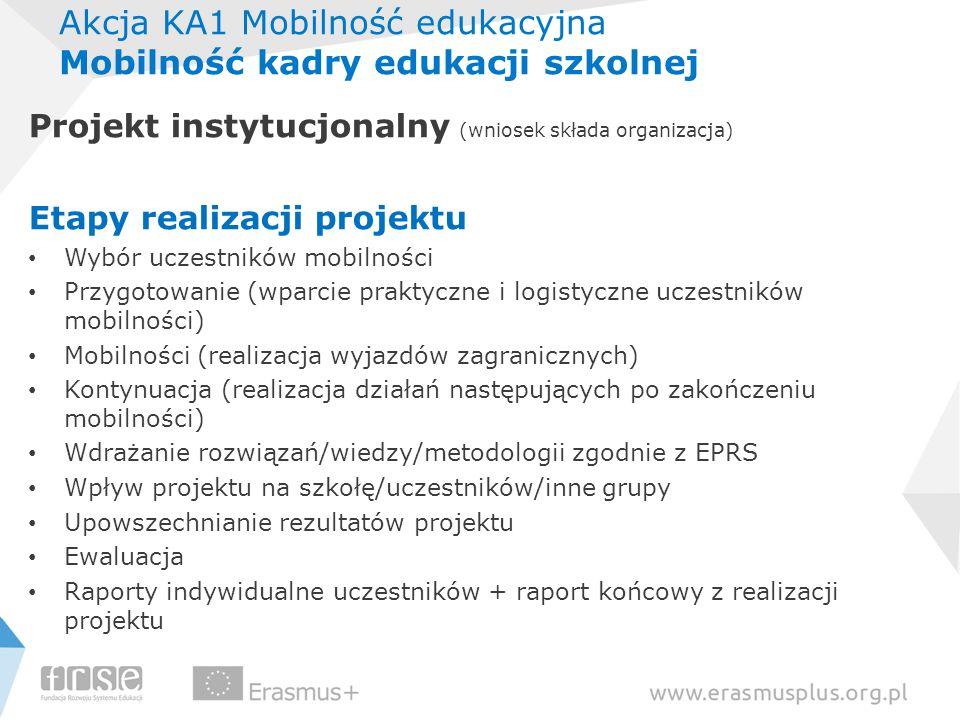 Akcja KA1 Mobilność edukacyjna Mobilność kadry edukacji szkolnej Projekt instytucjonalny (wniosek składa organizacja) Etapy realizacji projektu Wybór