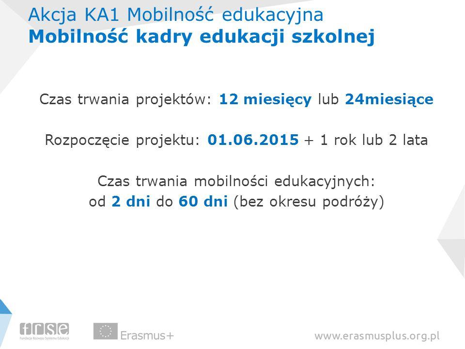 Akcja KA1 Mobilność edukacyjna Mobilność kadry edukacji szkolnej Czas trwania projektów: 12 miesięcy lub 24miesiące Rozpoczęcie projektu: 01.06.2015 +