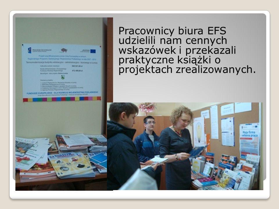 Pracownicy biura EFS udzielili nam cennych wskazówek i przekazali praktyczne książki o projektach zrealizowanych.