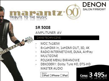 SR 6007 AMPLITUNER AV DANE TECHNICZNE -MOC 7x110W (8 OHM) -7xHDMI in, 2xHDMI OUT, 3D, 4K -RADIO INTERNETOWE, DLNA, AirPlay -MULTIZONE -USB -DEKODERY: Dolby Ture HD, DTS-HD MASTER AUDIO