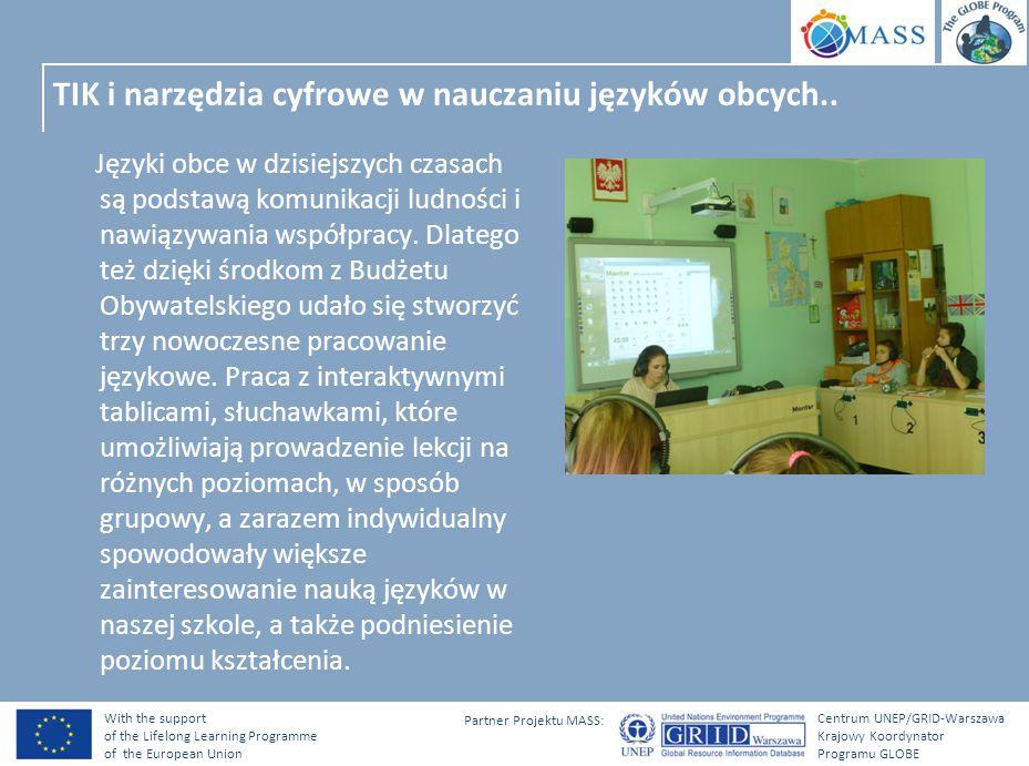 With the support of the Lifelong Learning Programme of the European Union Centrum UNEP/GRID-Warszawa Krajowy Koordynator Programu GLOBE Partner Projektu MASS: