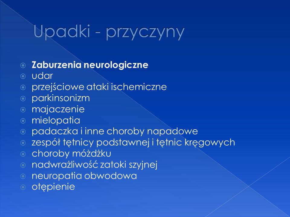  Zaburzenia neurologiczne  udar  przejściowe ataki ischemiczne  parkinsonizm  majaczenie  mielopatia  padaczka i inne choroby napadowe  zespół