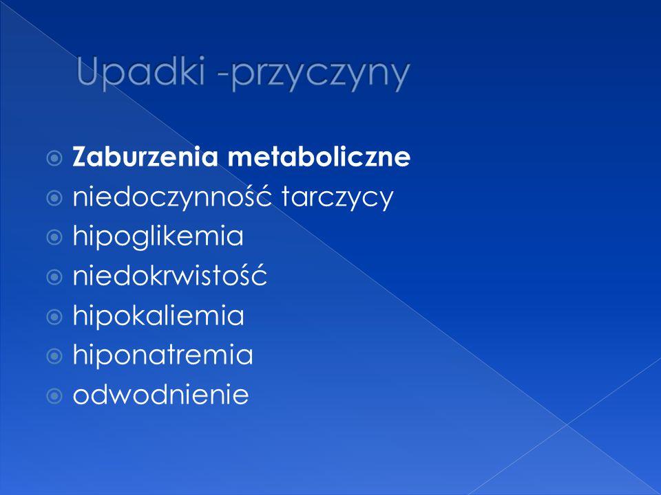 Zaburzenia metaboliczne  niedoczynność tarczycy  hipoglikemia  niedokrwistość  hipokaliemia  hiponatremia  odwodnienie