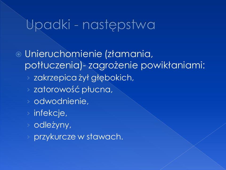  Unieruchomienie (złamania, potłuczenia)- zagrożenie powikłaniami: › zakrzepica żył głębokich, › zatorowość płucna, › odwodnienie, › infekcje, › odle