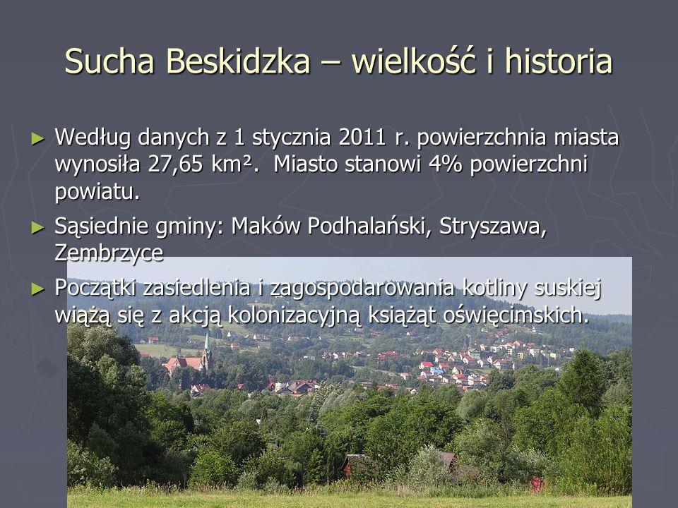 Sucha Beskidzka - położenie ► Sucha Beskidzka – miasto i gmina w południowo- zachodniej części województwa małopolskiego, w powiecie suskim. W latach