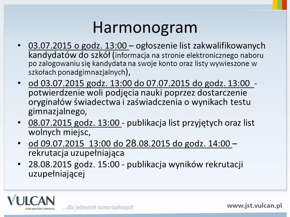 Harmonogram 03.07.2015 o godz. 13:00 – ogłoszenie list zakwalifikowanych kandydatów do szkół ( informacja na stronie elektronicznego naboru po zalogow