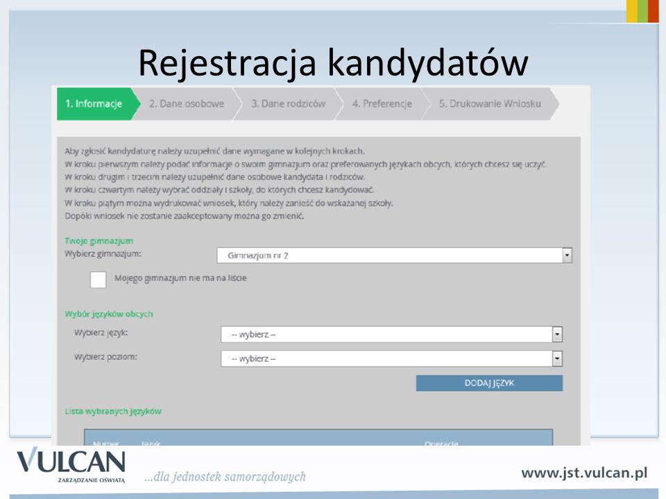 Rejestracja kandydatów
