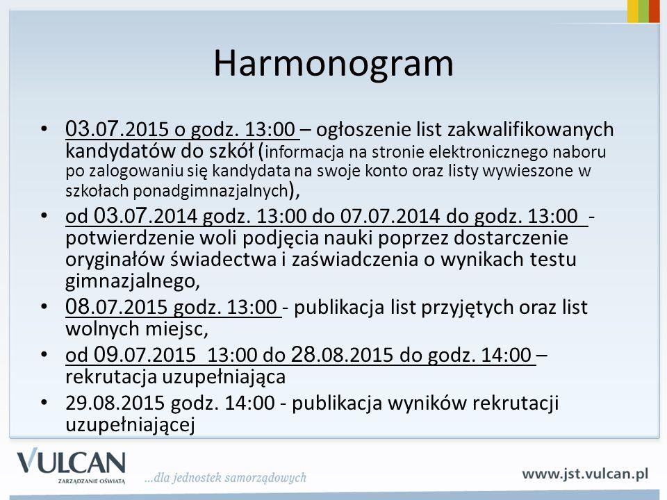 Harmonogram 03.0 7.2015 o godz. 13:00 – ogłoszenie list zakwalifikowanych kandydatów do szkół ( informacja na stronie elektronicznego naboru po zalogo
